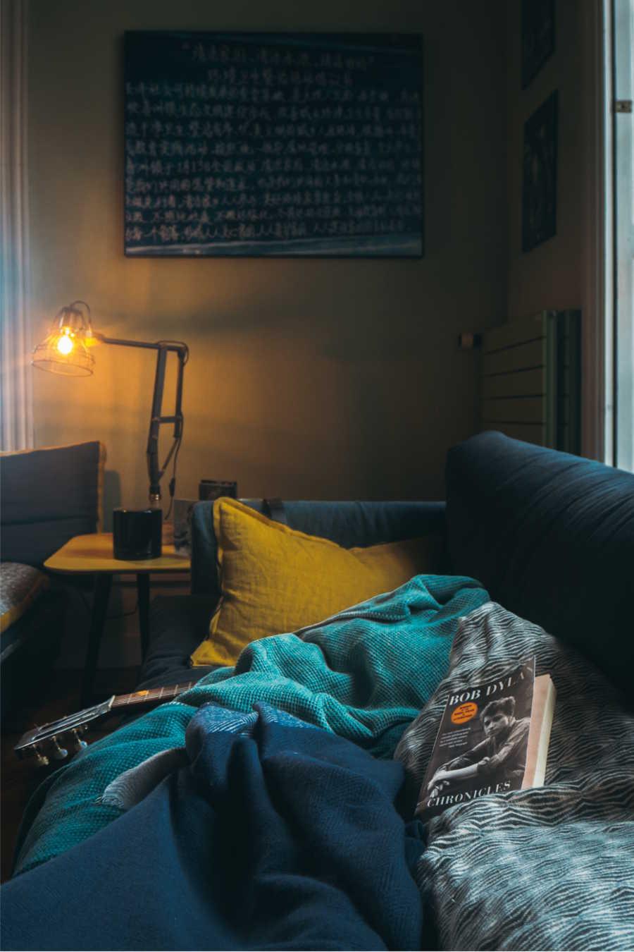 L'échoppe Végétale - Inspirations pour un automne pas monotone | créer une décoration cosy et confortable dans un canapé en velour bleu moelleux et un coussin jaune