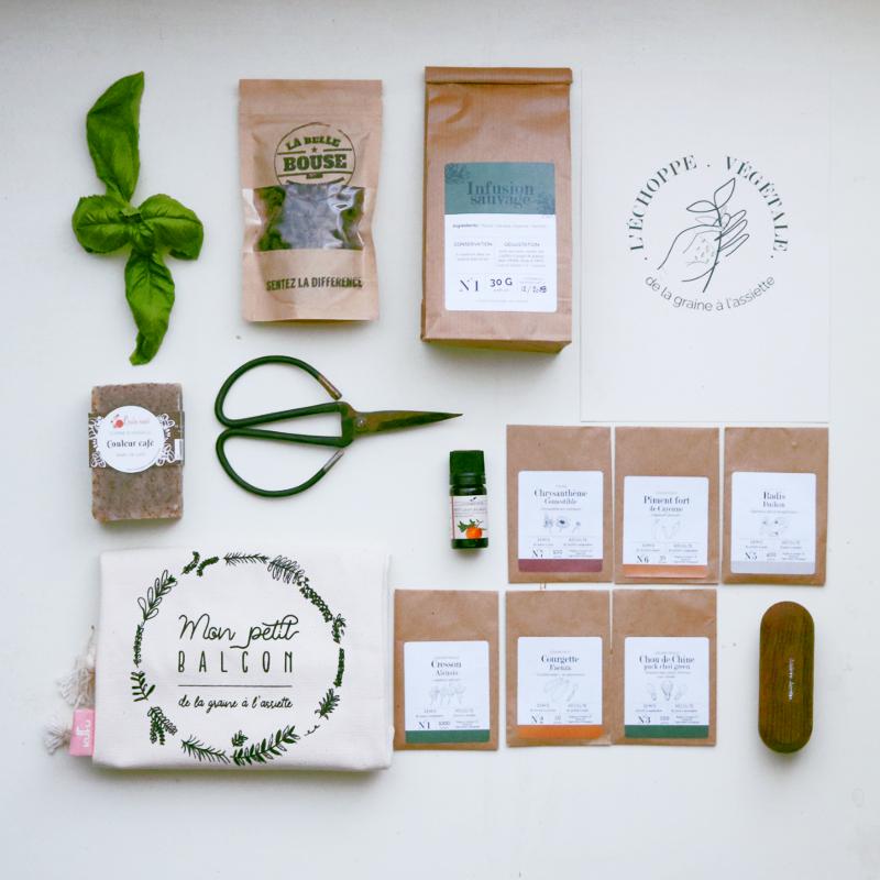 box jardinage potager, aromatiques, fleurs comestibles, légumes, balcon, sans jardin, graines bios et reproductibles
