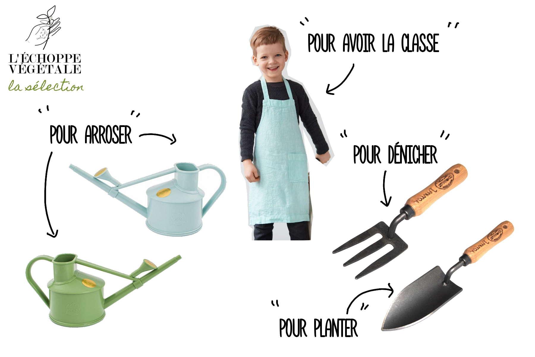 arrosoir, plantoir, fourche, tablier et produits écolos pour apprendre à jardiner avec les enfants