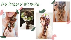 Inspirations de tresses fleuries, coiffures pour mariage ou événement