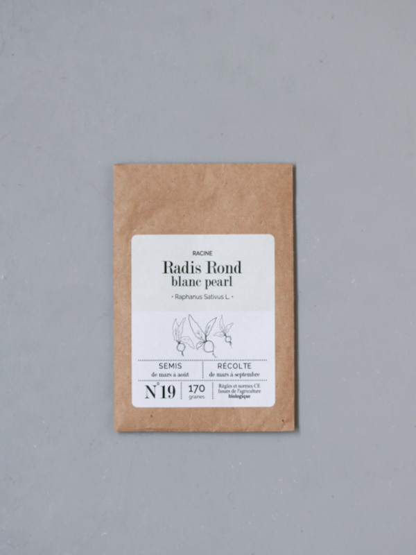 sachet de graines bio et reproductibles de radis blanc rond pearl - échoppe végétale