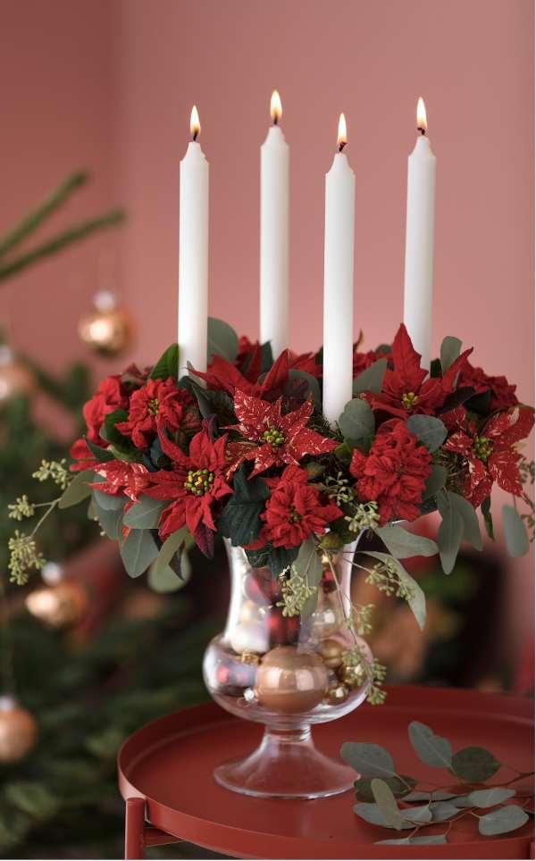 bougeoir poinsettia rouge, conseils décoration